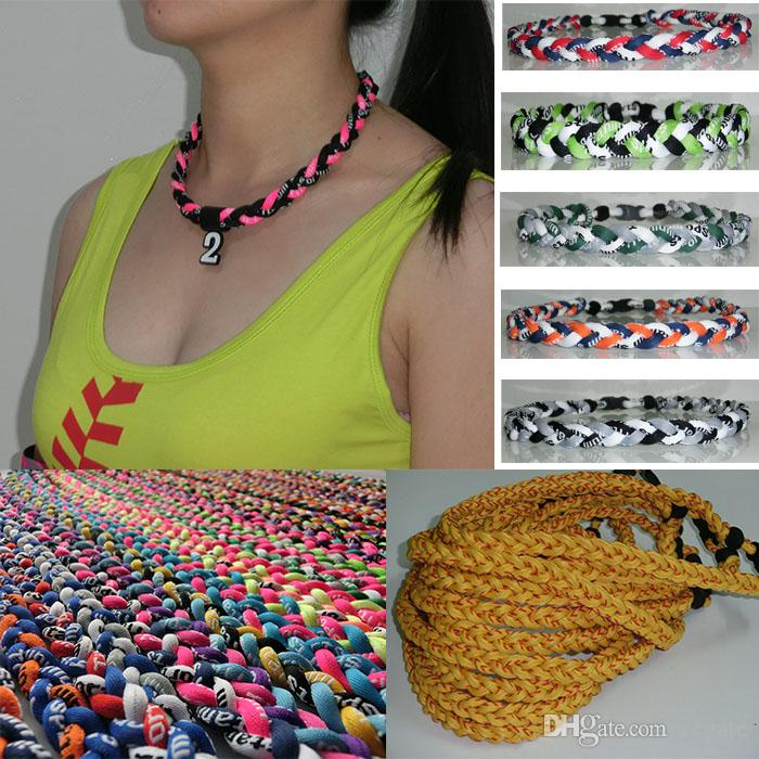 New titanium braided 3 ropes tornado necklaces for SPORTS football baseball,sport titanium necklaces