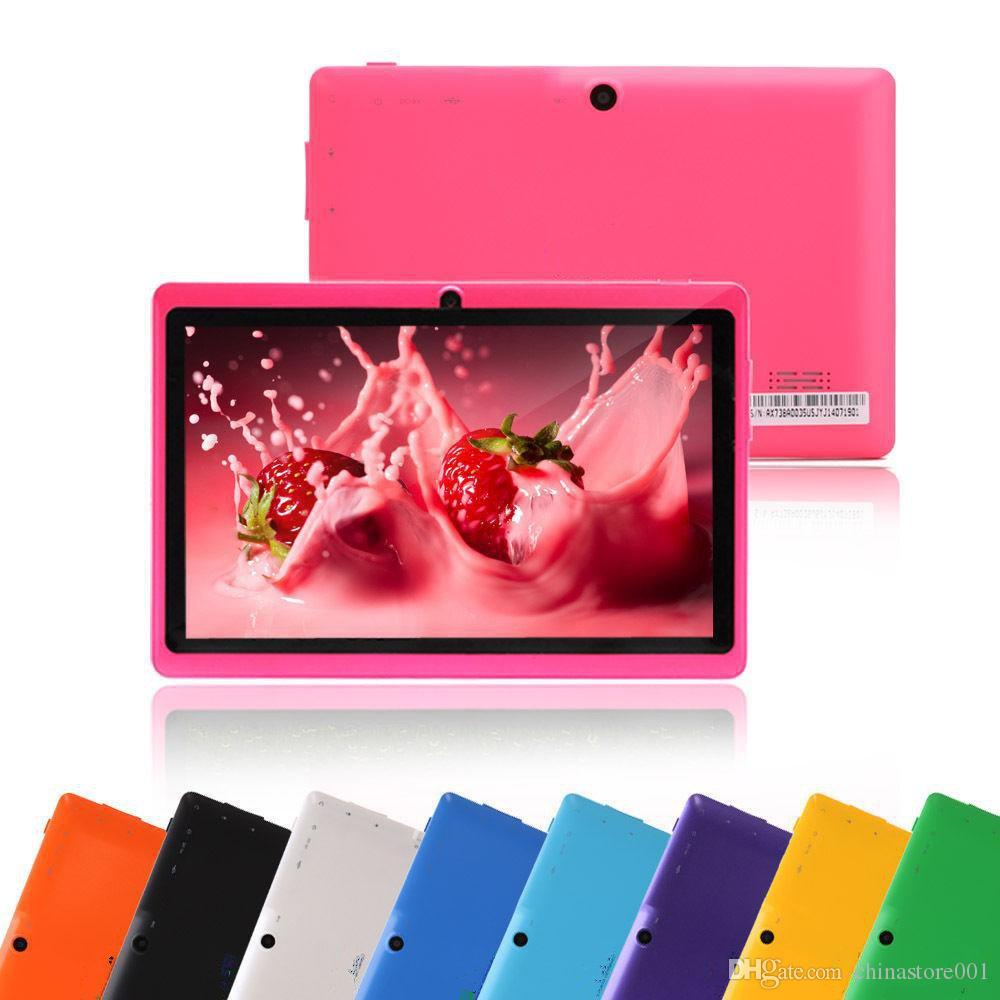Q88 7-дюймовый планшетный компьютер Android 4.4 планшетный ПК Низкая цена A33 Quad Core Двойная камера 8 ГБ 512 МБ Емкостные Дешевые таблетки