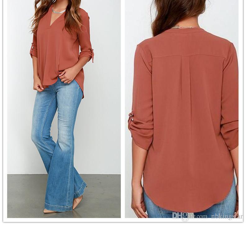 Camisetas de la gasa de la manga larga de la manga larga de las mujeres de las mujeres sueltas de color sólido de las mujeres