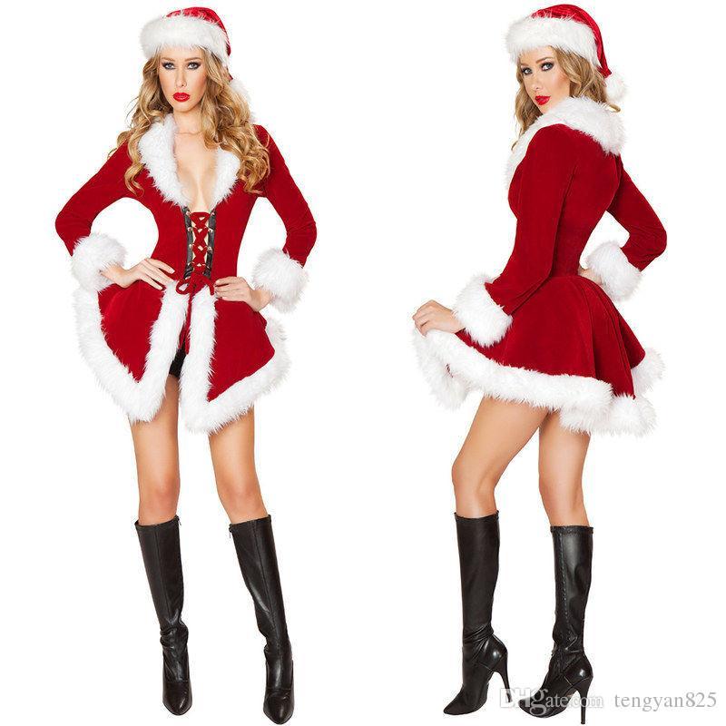 Мисс Санта-Клаус костюм женщин Миссис Дед Мороз Рождество Рождество необычные платья наряд ZL