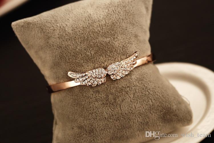 2016 diseñador de la marca alas del ángel brazalete pulsera bling bling brazalete de cristal 18 k oro rosa bañado brazalete joyería de moda mejor regalo para los amantes