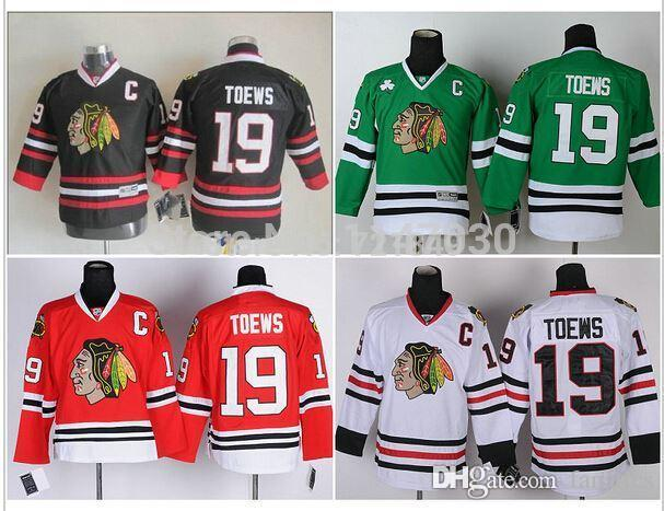73f522438 2016 New Cheap Youth Chicago Blackhawks  19 Jonathan Toews Ice Hockey  Jerseys Red Black Kids Size S M L XL Kids Mets Jersey Kids Brazil Soccer Jersey  Kids ...