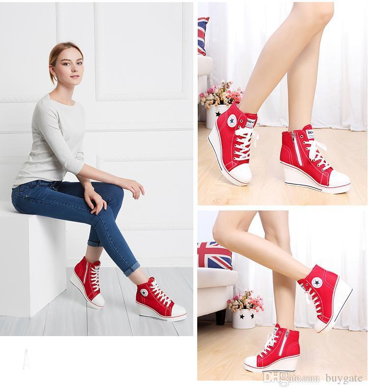 Fashion Women Platform Wedges High Top 8cm Height Increased Thick Soled Elevator Canvas Zippers Shoes Woman Hidden Boots Lady Casual Heels