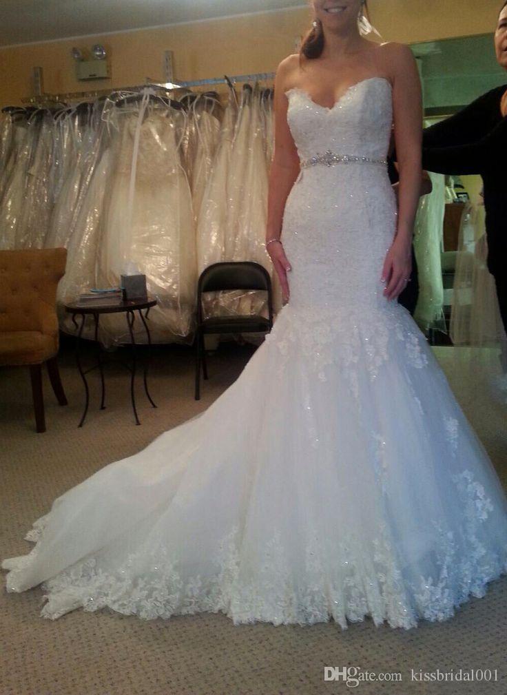 Robes de mariée pleine dentelle sirène perle longue robe de mariée arabe avec Sexy Sweetheart Col Sequins à lacets Robe de train à la suite 2019