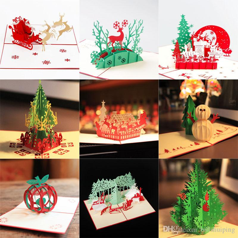15 StylesNew 3D Handmade Card Christmas Day Card Xmas Greeting Cards ...