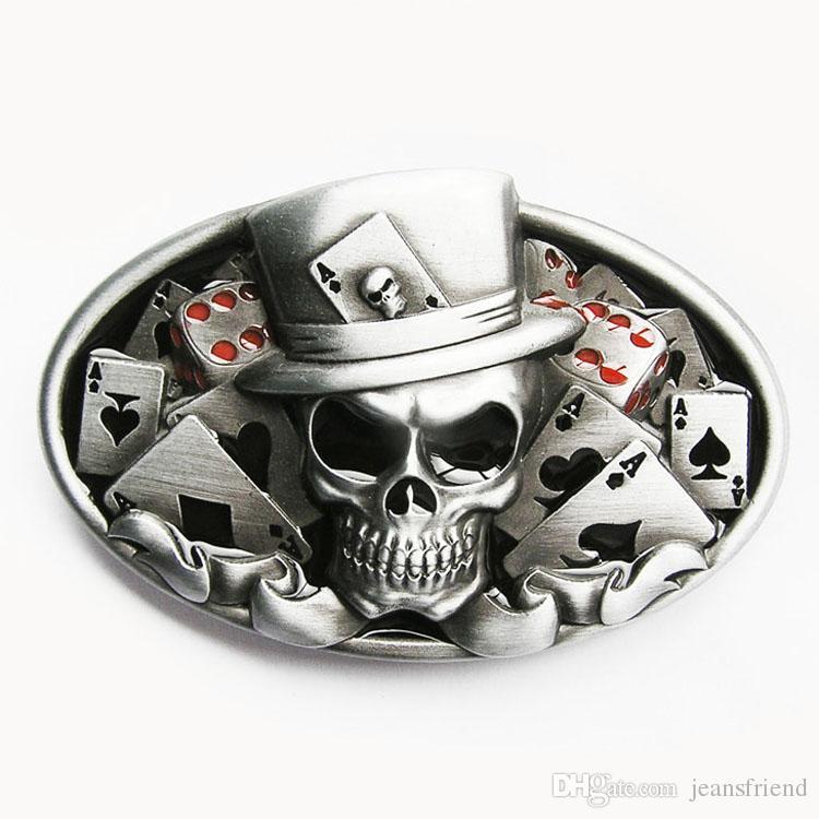 14cd3b2977e New Vintage Original Fivela de Cinto de Crânio Dice Skull Tatuagem de Poker  Casino Fivela de Cinto Gurtalschnalle Boucle de Ceinture CS036 Frete Grátis