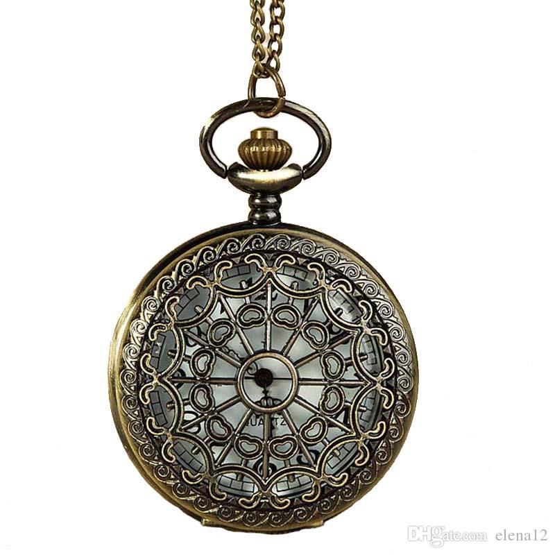 Hollow Spider Web Flower Patter Pocket Watches Necklaces Chain Flip Locket Quartz Watch Wall Clocks men women jewelry Christmas gift 230219