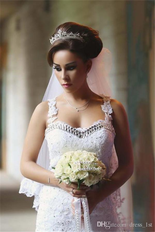 Arabe 2016 Dit Mhamad Dentelle Et Tulle Robes De Mariée Sirène Sexy Illusion Applique Perlé Cristal Longue Robes De Mariée Sur Mesure EN71513