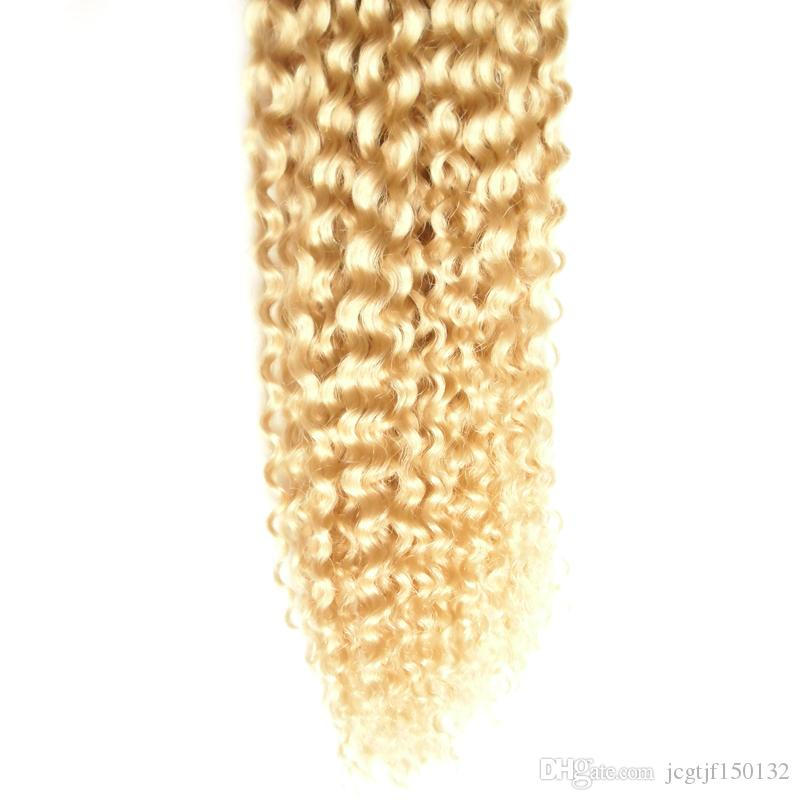 #613 Bleach Blonde Brazilian Virgin Hair Apply Tape Adhesive Skin Weft Hair 100g Human Tape in kinky curly Tape Hair