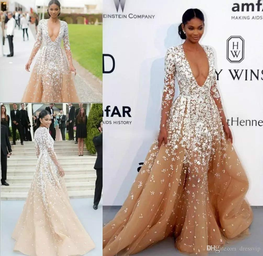 Long sleeve deep v neck evening dresses champagne applique africa applique africa a line real images prom dress sweep train fast delivery party gowns petite evening dresses uk pregnancy evening dresses from dressvip ombrellifo Image collections