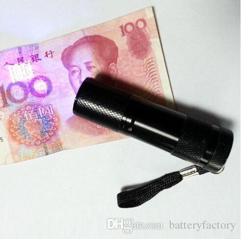9LED Aluminium Mini Portable UV Ultra Violet Blacklight 9 Lampe torche LED