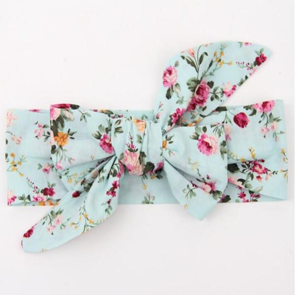 Vintage Bule Floral baby headbands Floral baby products pack big bow turban baby girls headband top Knot newborn headband