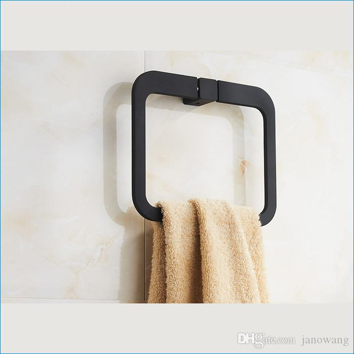 욕실 블랙 스퀘어 타월 링, 벽걸이 장식 타올 링, 목욕 타올 링, 무료 배송 J15518