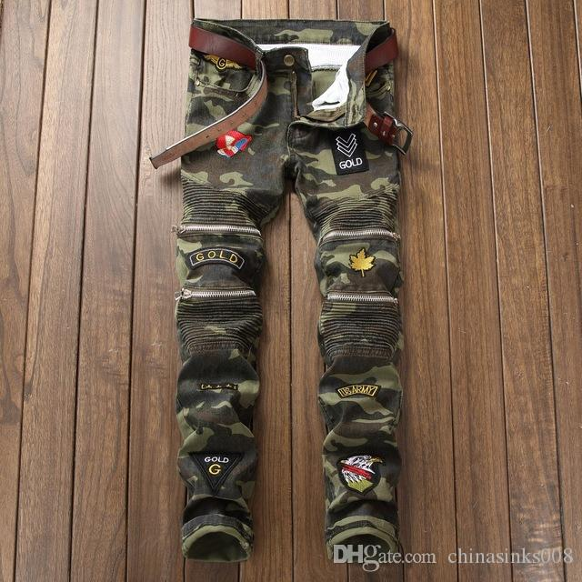 Online Cheap 2017 New Young Brand Men Jeans Camouflage Badge