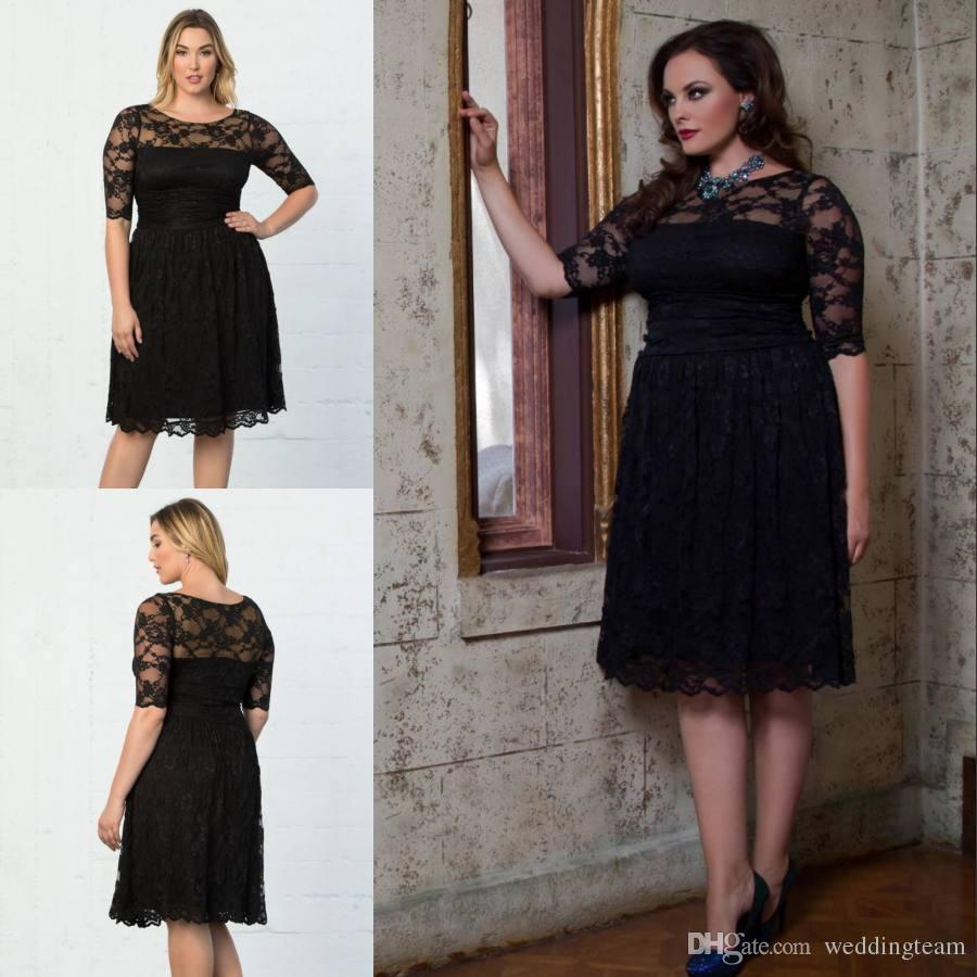 Elegant Black Plus Size Lace Formal Dresses With Half Sleeves Sheer Bateau  Neck Knee Length Evening Gowns A-Line Cheap Short Prom Dress
