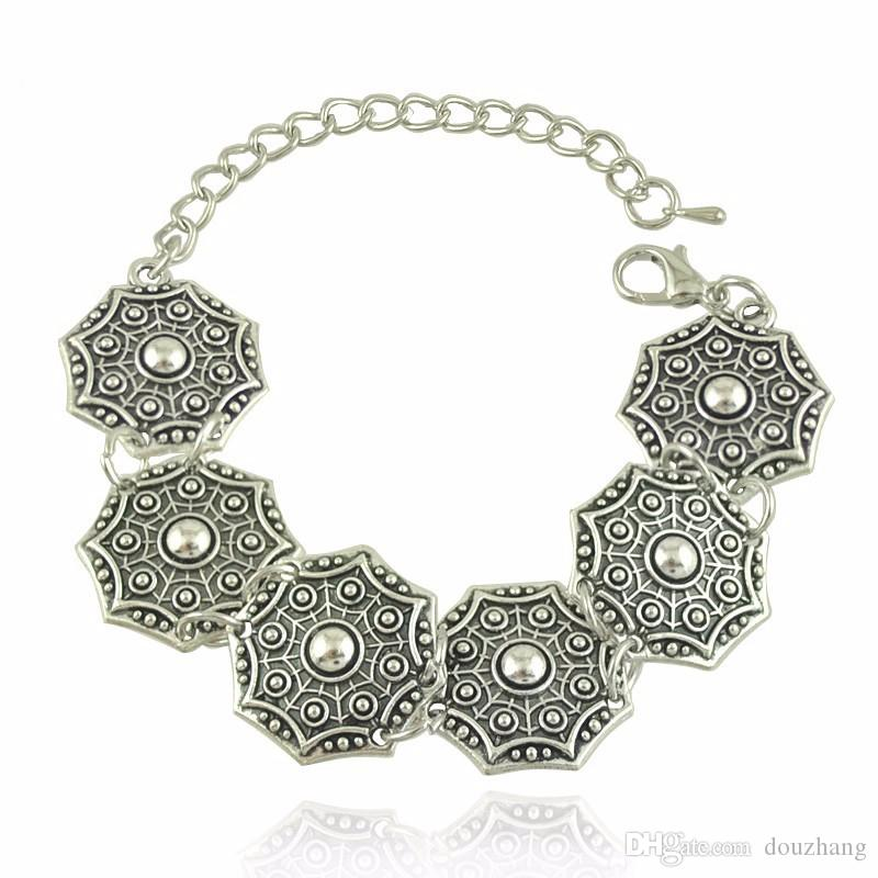 Boho Schmuck Tribal Schmuck Set Antik Silbermünzen Choker Halskette Armband Set böhmischen ethnischen Schmuck viel 10 Sätze