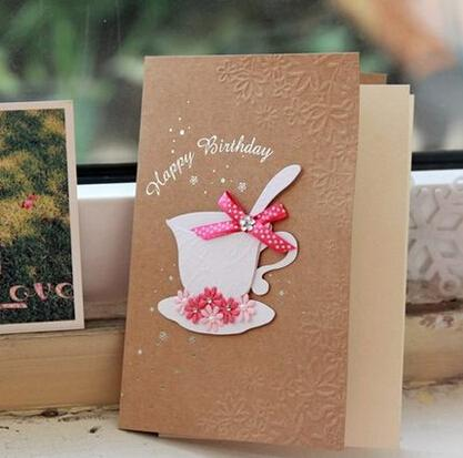 Happy birthday greeting cards creative coffee cup with pink happy birthday greeting cards creative coffee cup with pink flowers birthday wishes kraft paper greeting cards handmade birthday cards handmade cards from bookmarktalkfo