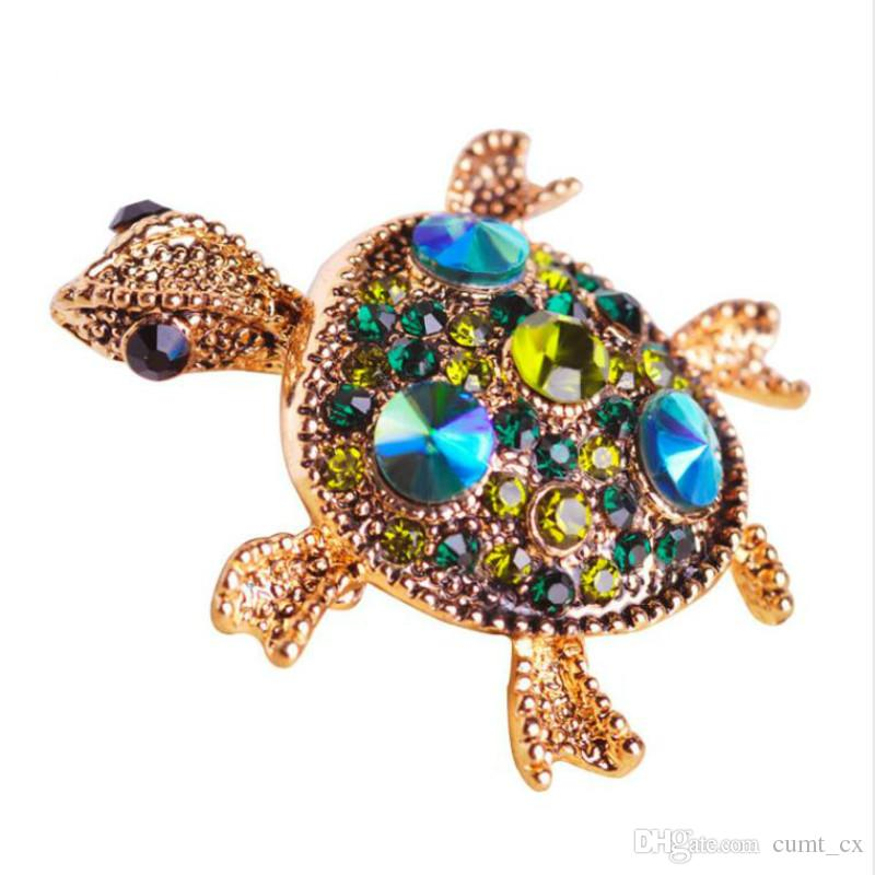 Turtle Czech Crystal Alloy Pearl Animal Jewelry Brooch For Women Costume Brooch Pins Gift Decoration Accessories Novelty Evident Effect Jewelry Sets & More