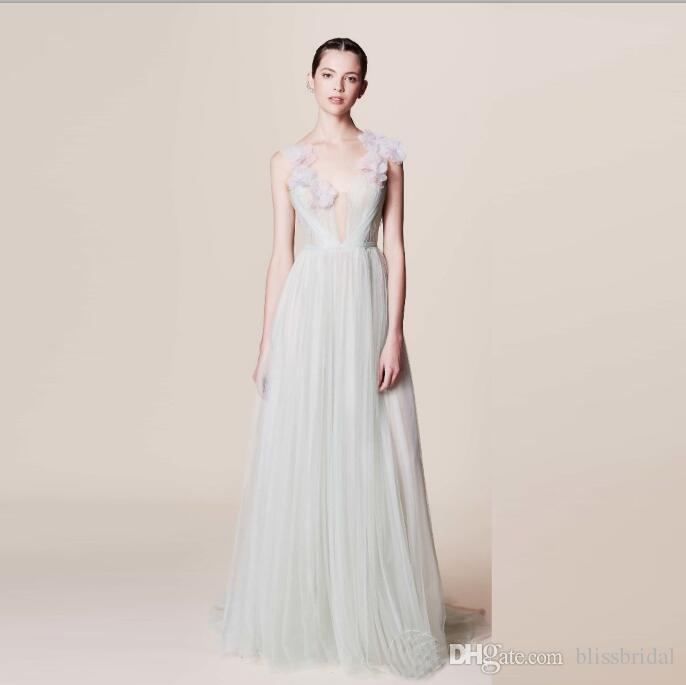 2016 Summer Tulle Prom Dresses V-Neck Sleeveless Women Prom Gowns Floor Length A-line Applique Marchesa Resort Arabic Prom Dresses