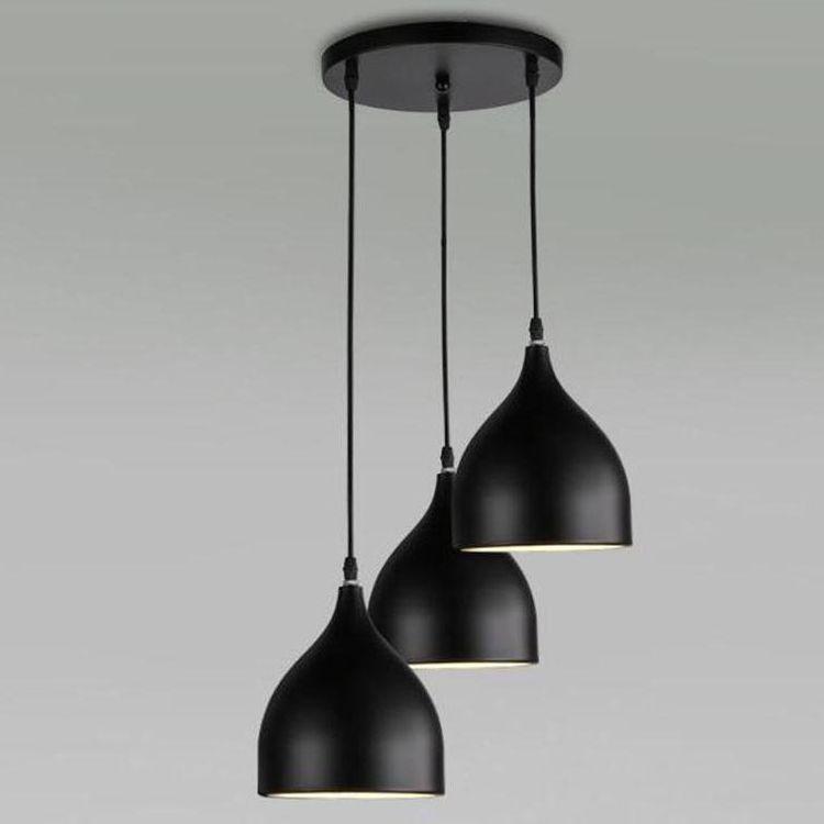 Restaurant Lampen Aluminium Tulpe Deckenlampe leuchtet eine Tasche Nordic klassische Kombination Mahlzeiten Kronleuchter E27 Drei Ein-Kopf-Kronleuchter