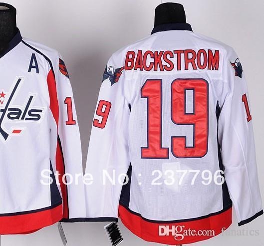 sale retailer 4684c b390e Newest #19 Nicklas Backstrom Jersey All Stitched Washington Ice Hockey  Jerseys Road Away White Men For Sport Fans 100% Polyester