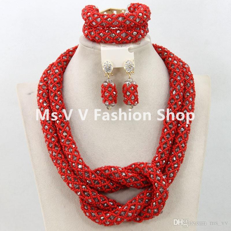 Contas africanas conjunto de jóias coral vermelho ouro artesanal de cristal colar pulseira brincos conjunto apto para o casamento nigeriano aso ebi vestido de renda francesa