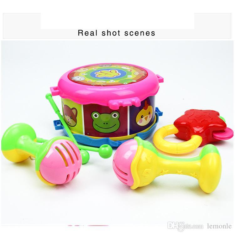 20 conjunto Kid Instrumento Musical Toy Música Chocalho Brinquedos Roll Drum Kit Infantil Jogando Presente Das Crianças