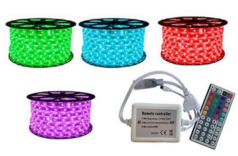 20M 220V RGB LED 스트립 램프 5050 SMD 로프 빛 야외 가든 스트리트 조명 장식 방수 IP67 + 44 키 원격 컨트롤러