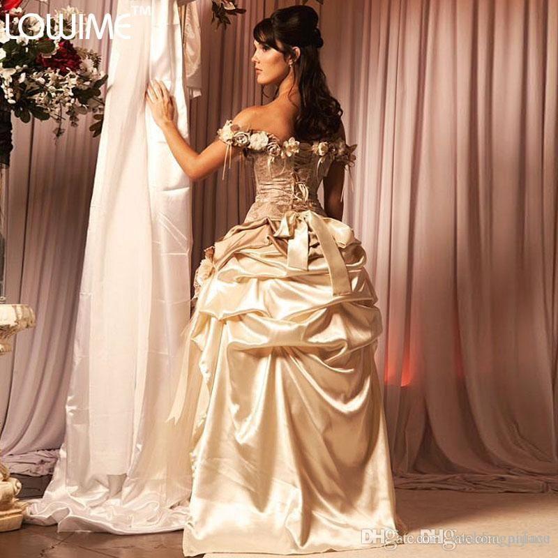 2021 Champagne Oi Lace Flower Flower Quinceanera Vestidos Princesa Victorian Masquerade Sweet 16 Anos Vestido Quinceanera Vestido Nova Chegada