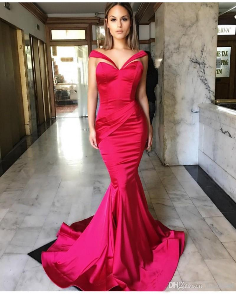 2018 Fancy Red Satin Off The Shoulder Mermaid Sweep Train Prom ...