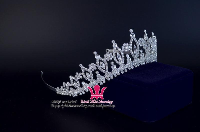 Мода Горный Хрусталь Свадебный Свадьба Тиара Корона Классический Стиль Принцесса Королевский Аксессуары Для Волос Оголовье Для Партии И Показать Ювелирные Изделия 00161