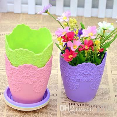 Home decoration Thicken flower pot Gardening Mini Plastic Vase With Tray Bonsai Planter Nursery Pots Garden Supplies