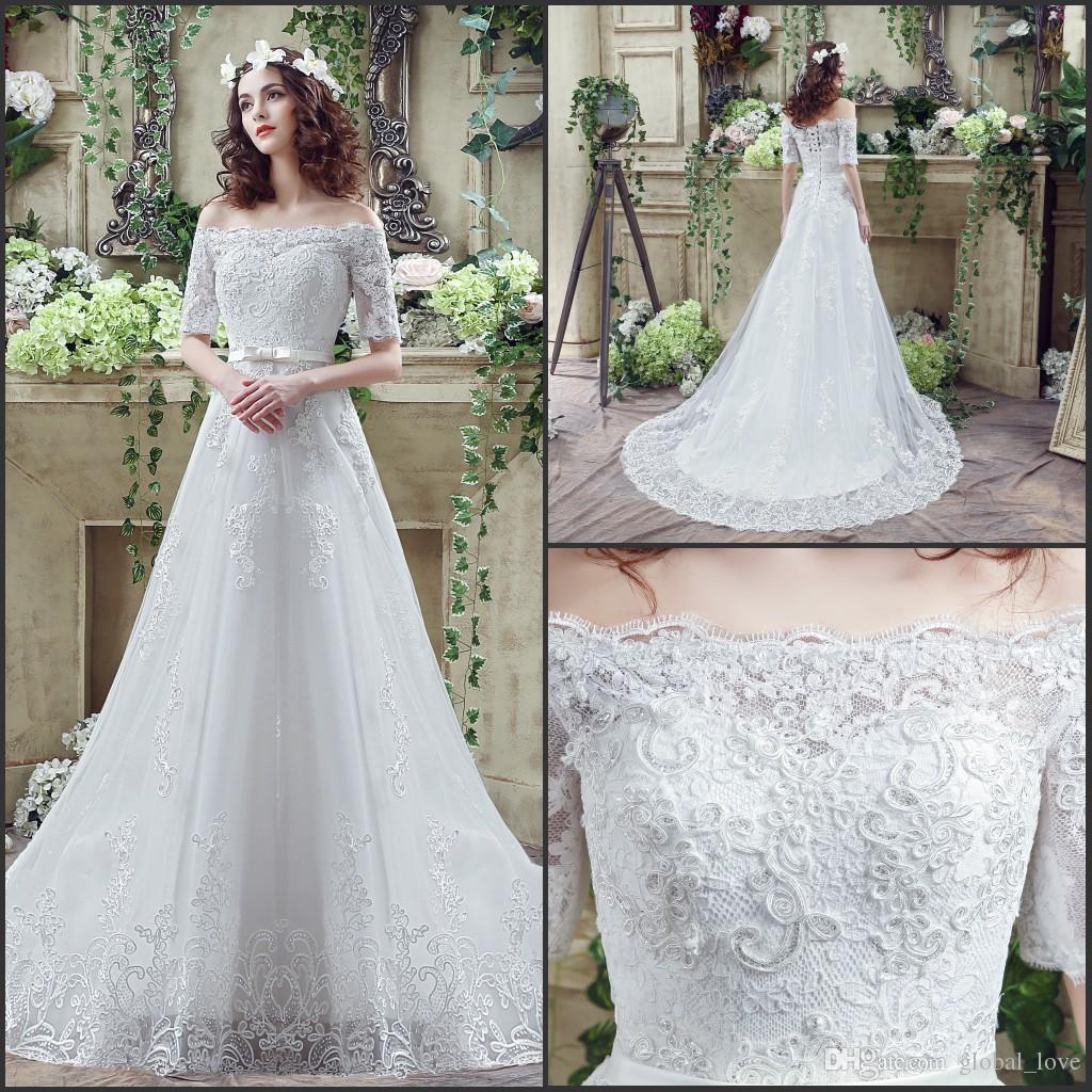 Discount 2016 Vestidos De Novia Simple Bohemian Lace Wedding ...