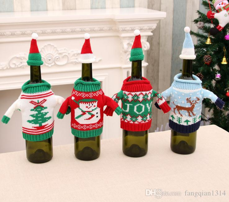 new style christmas decoration christmas wine bottle sweater cover and hat a christmas bottle jacket vintage christmas decorations white christmas