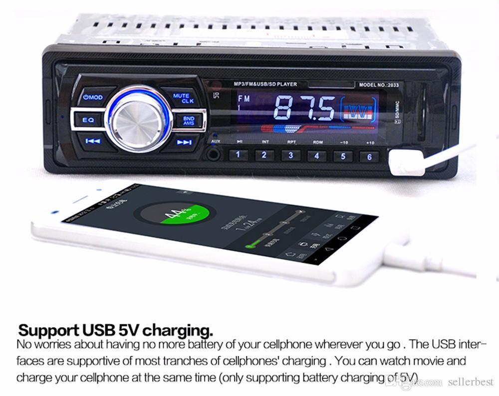 Alta calidad 2033 Radio Estéreo Audio Estéreo Soporte FM SD Reproductor de MP3 AUX-IN USB con 12V Control Remoto para Radio de Audio de Vehículo
