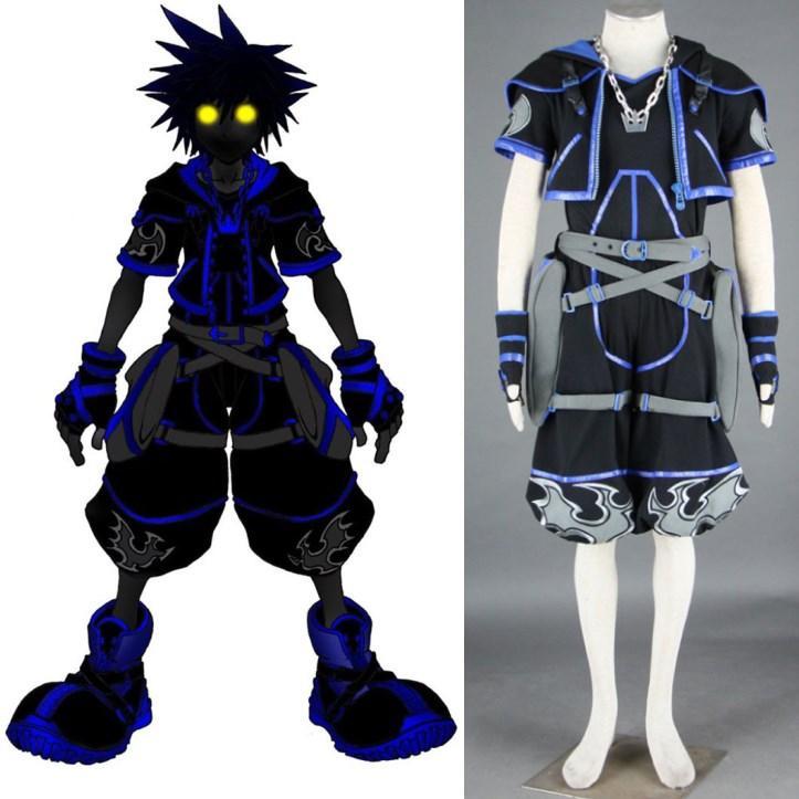 Kingdom Hearts Sora Halloween Town Costume.Kingdom Hearts Sora Black Outfit Cosplay Costume Halloween