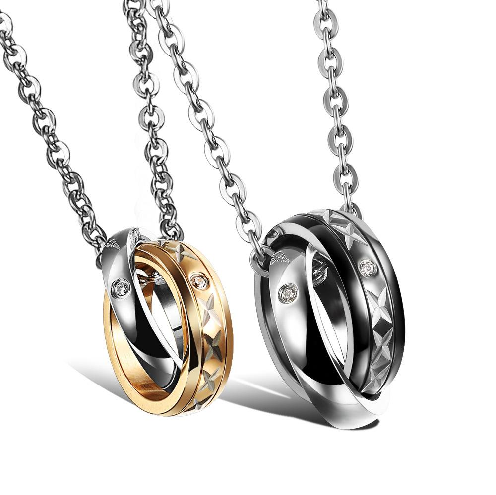 Newly titanium steel couples ring pendant necklace black gold plated necklaces ring pendant for mens and woman GX953
