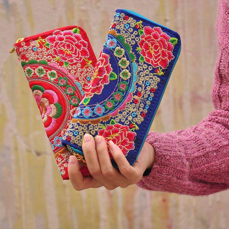 2016 Folk estilo moda feminina bolsa carteira carteira bolsa bordado duplo zíper