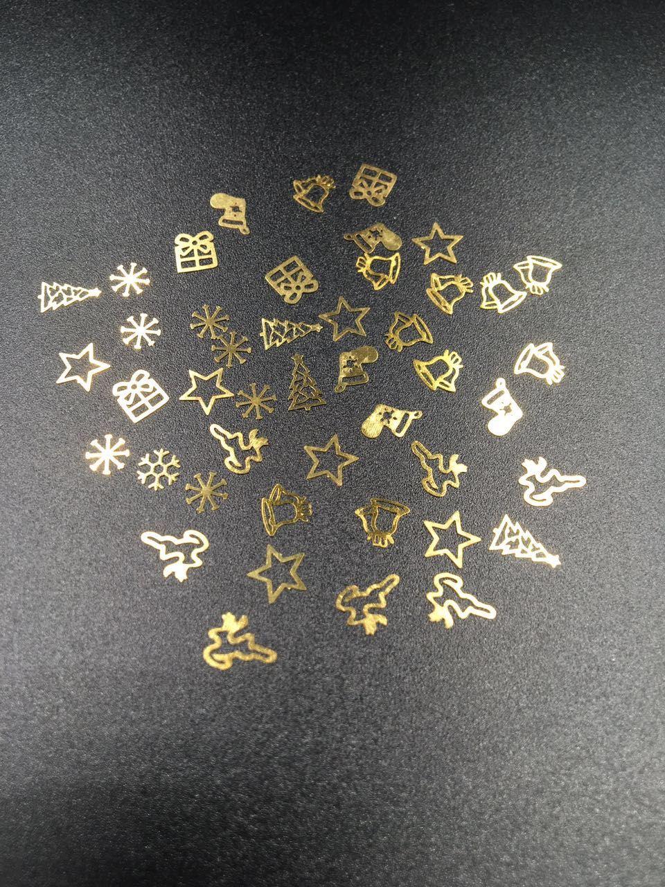 Fashion 3D Tips Metal Sticker DIY Wheel Boots Christmas Tree Jewelry Nail Art Xmas Decoration Design Wheel Christmas Gift