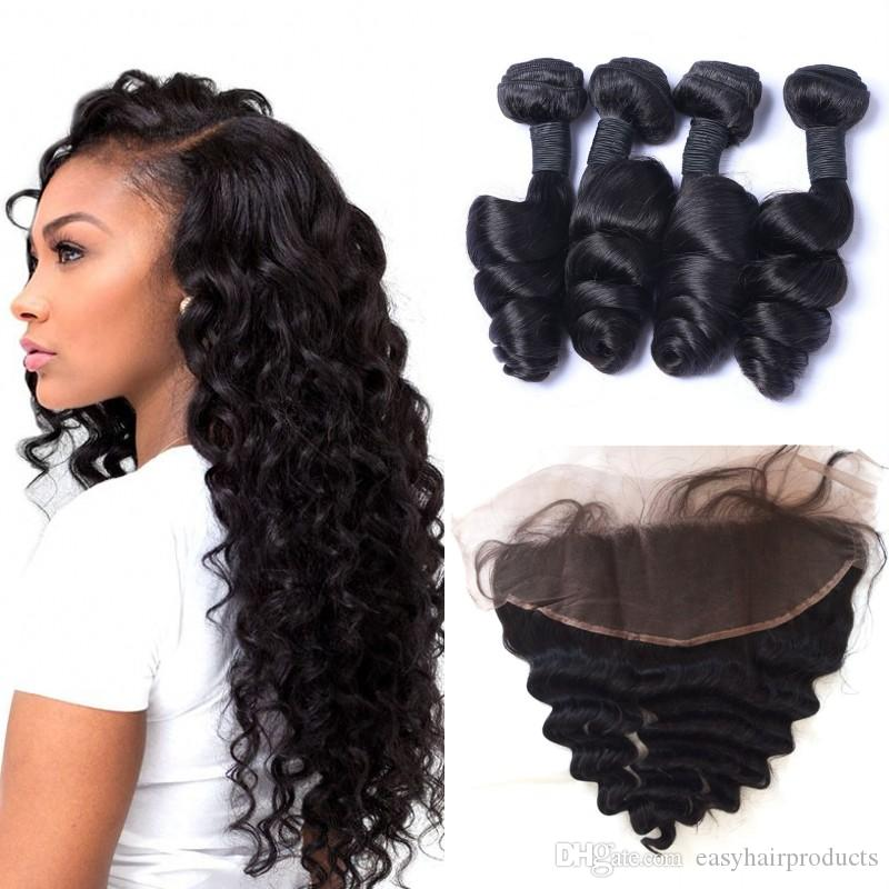 Hair Extensions & Wigs Strict 3 Bundles Malaysian Loose Wave With Pre Plucked Closure With Baby Hair Bouncy Curl No Shedding No Tangle Non Remy Black 1b