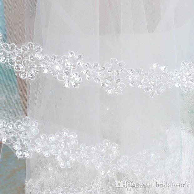 Branco Marfim Longo Véu de Renda Lantejoulas Apliques de Renda Véus de Noiva 2018 Uma Camada 1.5 m de Comprimento Ponta do Dedo Véus de Noiva de Renda Custom Made