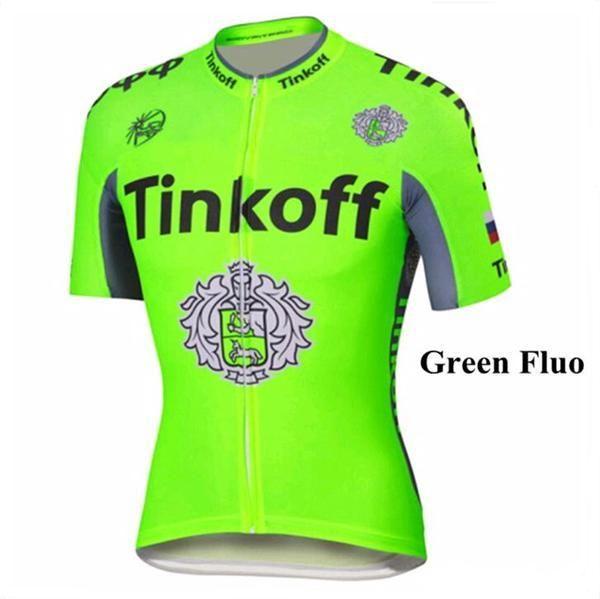 315c76376 Tour De France 2016 Tinkoff Saxo Bank Cycling Tops Light Green Yellow Fluo Short  Sleeve Jersey Bike Wear Short Sleeves Shirts Womens Shirts Long T Shirts ...