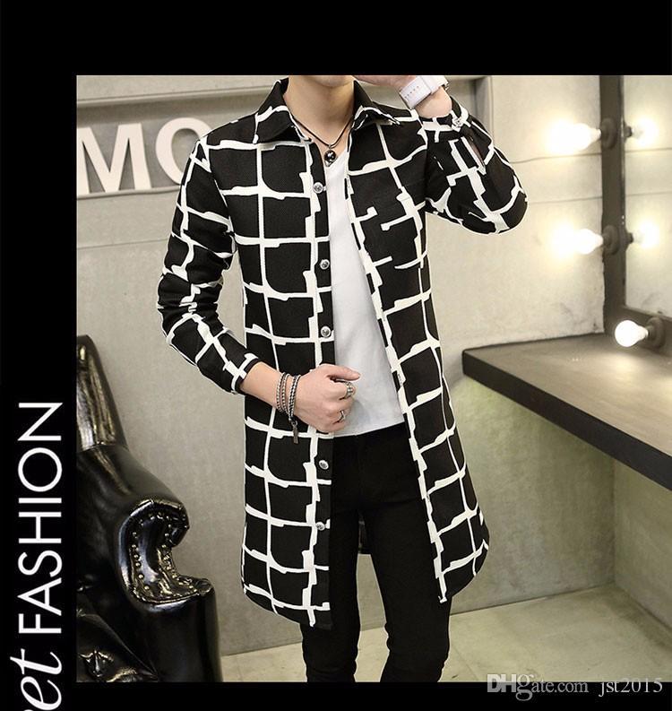 2016 autunno inverno soprabito mens moda uomo di alta qualità trench coat uomo casual stampato trench coat uomo slim fit capispalla