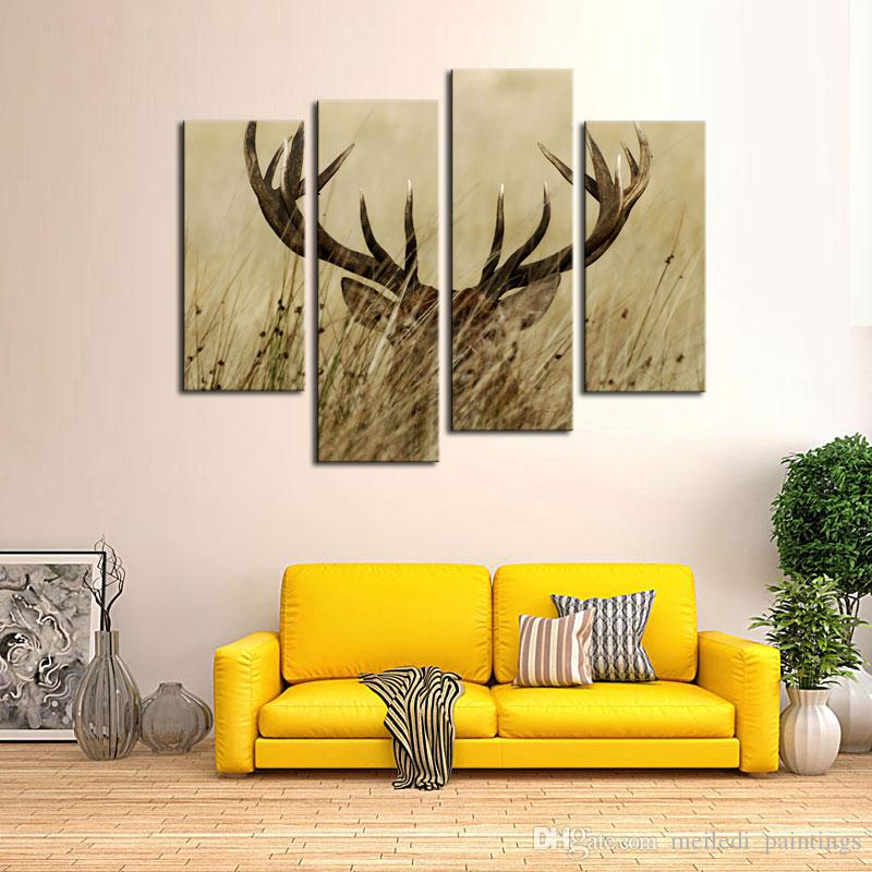 2018 Canvas Prints Deer Stag With Long Antler In The Bushes Picture Wall Art With Wooden Framed Animal Paintings For Home Decor From Meiledi_paintings ... & 2018 Canvas Prints Deer Stag With Long Antler In The Bushes Picture ...