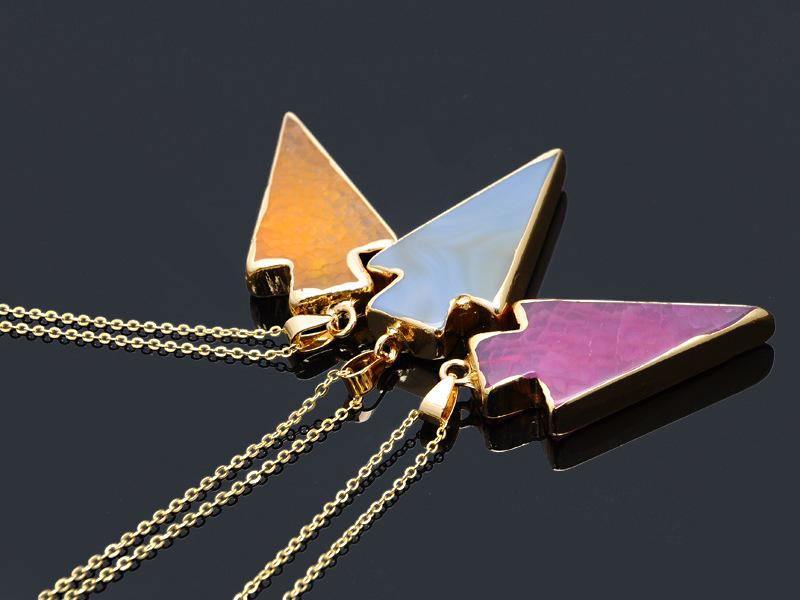 Hot Natural Stone Crystal Quartz Healing Point Chakra Gemstone Gold Plated Triangle Pendant Necklaces Agate Amethyst Quartz Necklace Jewelry