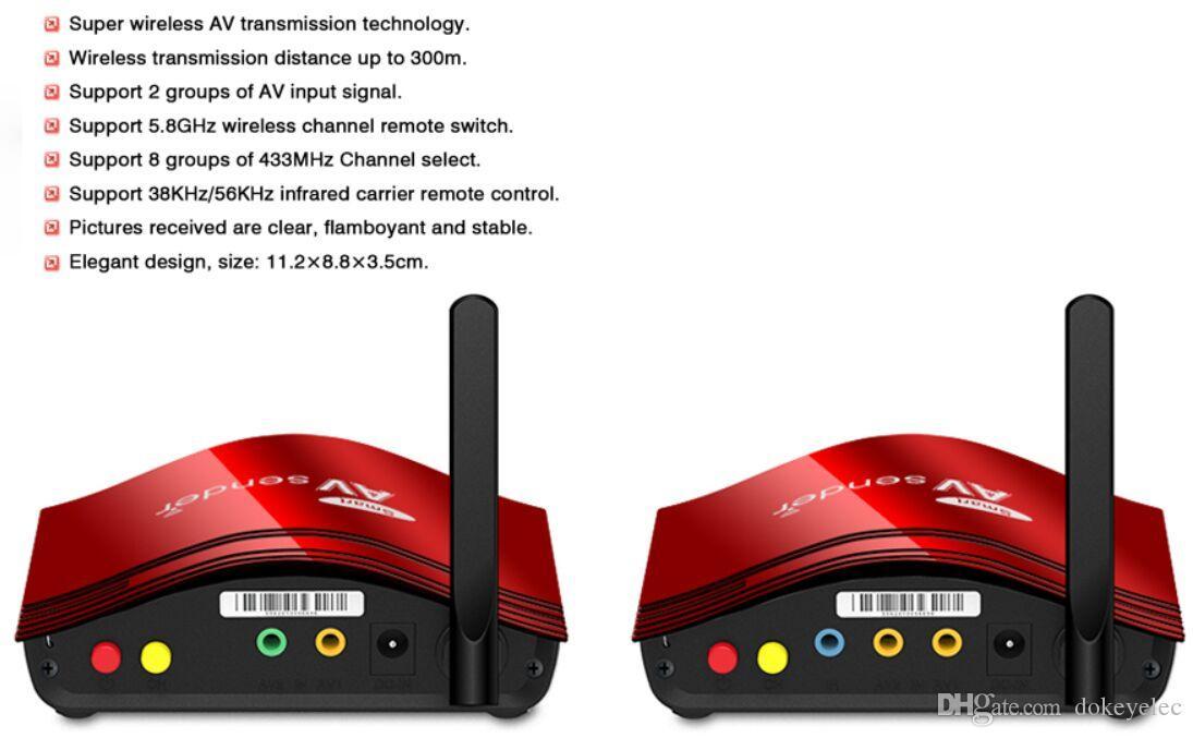 PAT-556 5.8 GHz 300 Metre dijital AV RCA sinyal Gönderen Gönderici genişletici Kablosuz Video Verici STB TV'ye kablosuz paylaşım cihazı IR uzaktan DVR