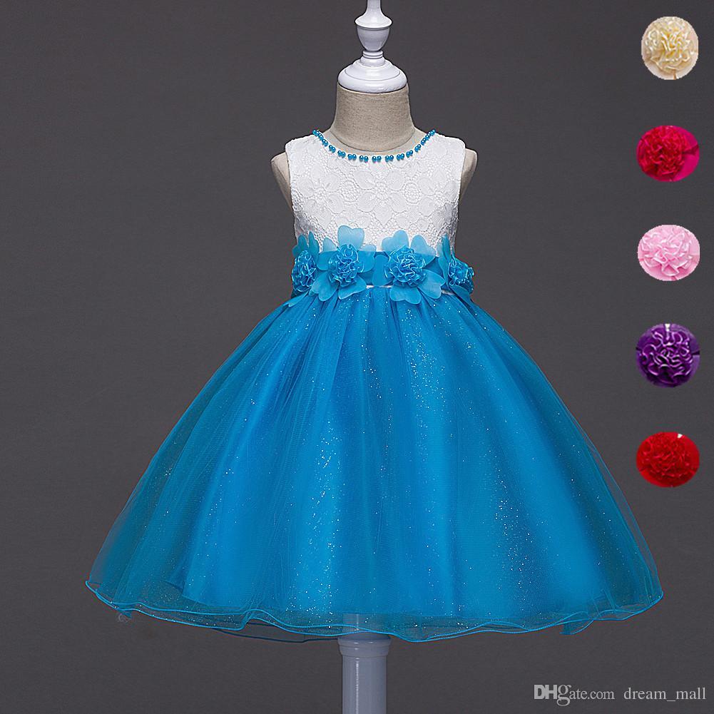 New Summer Flower Kids Party Dresses For Weddings Children Princess ...