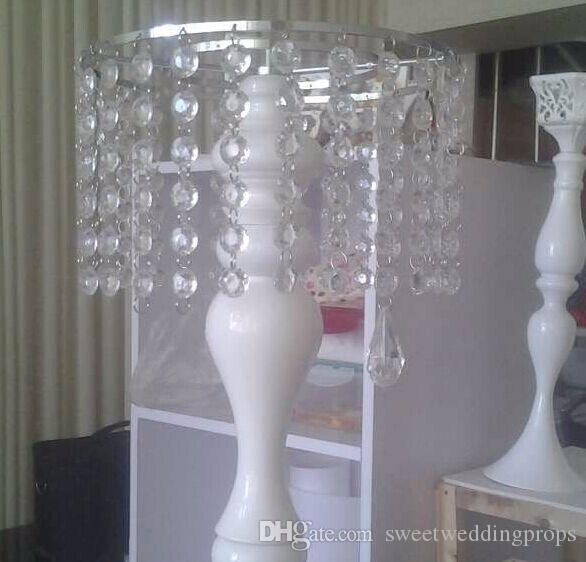 Ücretsiz Kargo 2016 Beyaz Kristal Düğün Çiçek Vazo Çiçek Raf Düğün Masa Centerpiece 46 cm H 10 adet / grup