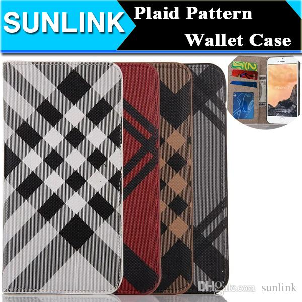 Check Grid Pattern Pu Leather Wallet Case Classic Business Style