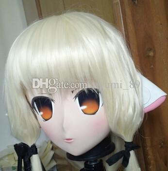 C2-066 2016 KIG Máscaras de goma de silicona para mujer Cabeza completa con peluca Cosplay Máscara Kigurumi Crossdresser Doll Anime Juego de roles